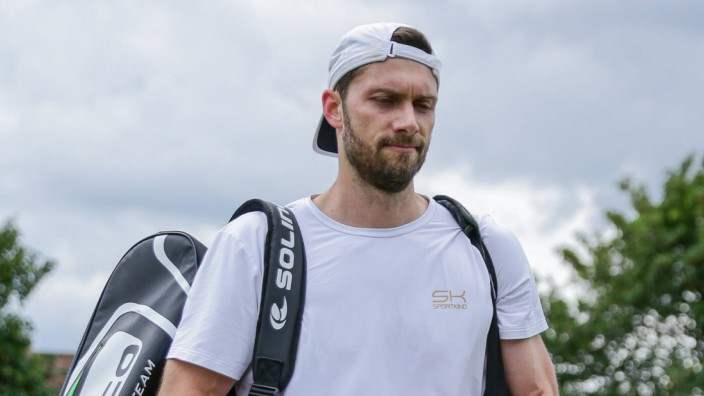 Surbiton Trophy Day Three Daniel Brands of Germany after his defeat to Feliciano Lopez of Spain on D; Tennis
