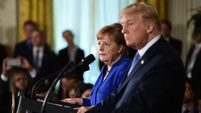 Angela Merkel und Donald Trump im Weißen Haus 2018