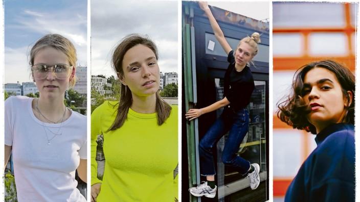 Kultur in München: Rosa Luckow, Hannah Weiss, Sophie Pschorr und Amanda Stach (von links) haben ihre eigenen Musiksendungen bei Radio 80000.