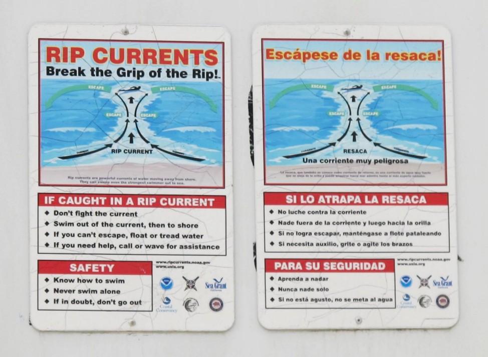 Riptide Rip Tide Brandungsrückströmung San Diego Warnschild retten
