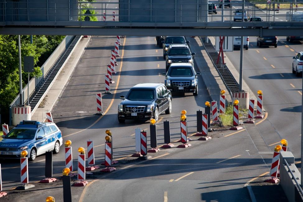 G-7-Gipfel in Elmau 2015: Fahrzeugkolonne von Barack Obama in München