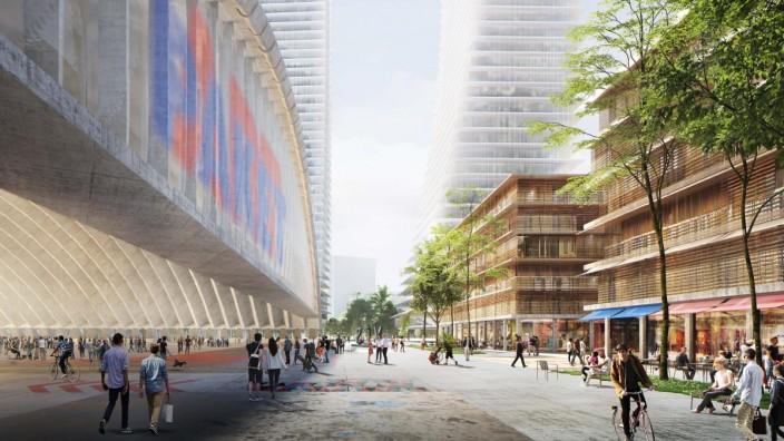 Die beiden Hochhäuser von Herzog & de Meuron sollten ein ganzes neues Viertel prägen.
