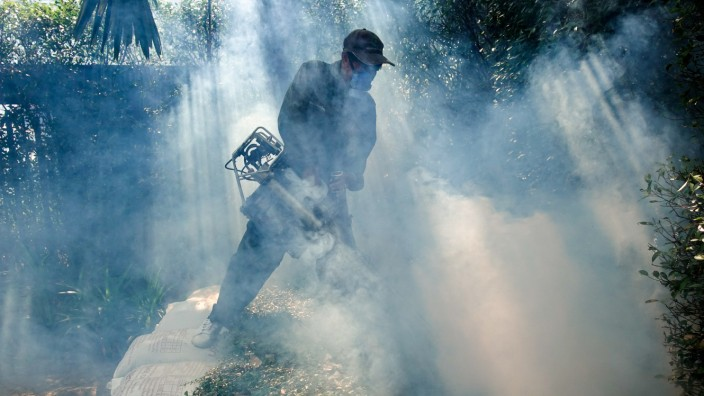 FILE PHOTO: A worker sprays insecticide for mosquitos at a village in Bangkok