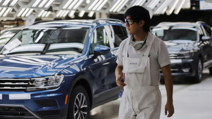 Volkswagen Tiguan cars are pictured in a production line at company's assembly plant in Puebla