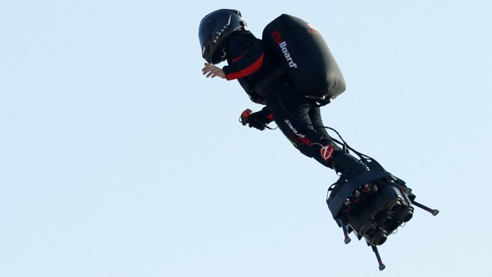 French inventor Franky Zapata takes off on a Flyboard to cross the English channel from Sangatte in France to Dover, in Sangatte