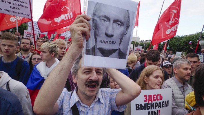 Protestaktion in Sankt Petersburg am 24. Juli 2019 gegen die Manipulation der bevorstehenden Regionalwahl