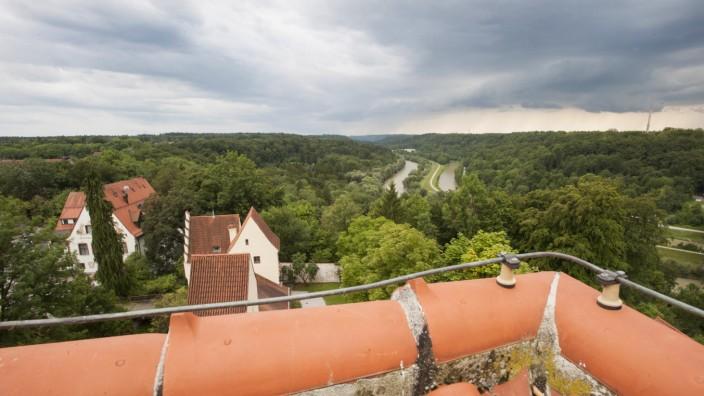 Grünwald, Burg, Hausmeisterserie, Ausblick über das Isartal,