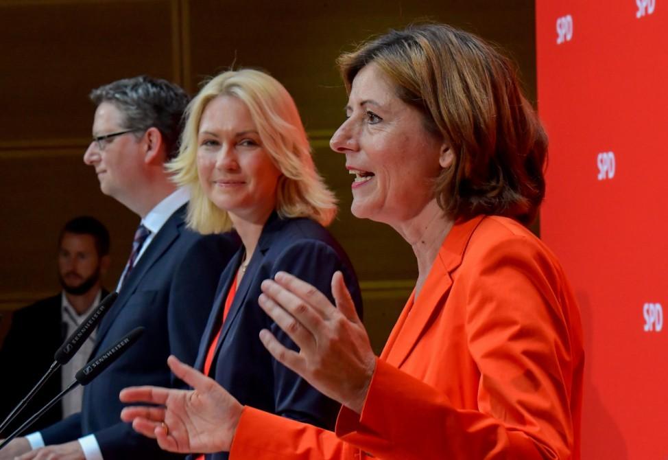 Die kommissarischen SPD-Vorsitzenden Malu Dreyer, Manuela Schwesig und Thorsten Schäfer-Gümbel