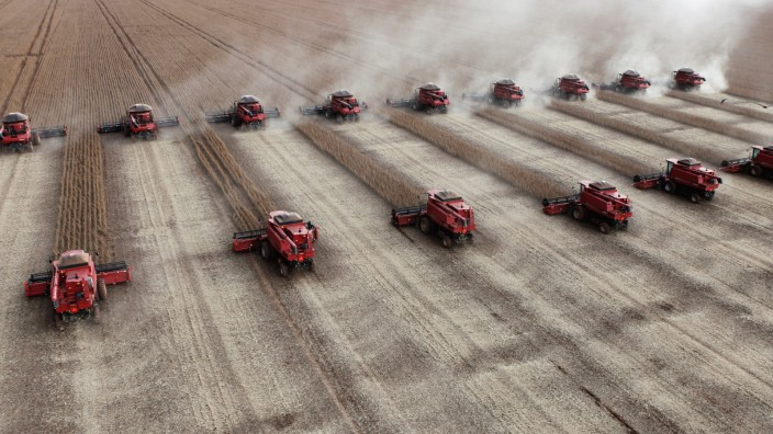 FILE PHOTO: Workers harvest soybeans in a farm in Tangara da Serra in Cuiaba