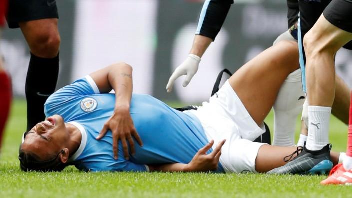 Leroy Sané erleidet 2019 einen Kreuzbandriss beim Spiel Manchester City gegen FC Liverpool
