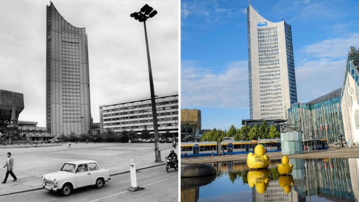 Steuern: Aufbau Ost, fertig und erledigt? Der Augustusplatz in Leipzig, 1992 und 2017.