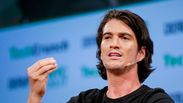 FILE PHOTO: Neumann, CEO of WeWork, speaks to guests during the TechCrunch Disrupt event in Manhattan, in New York City