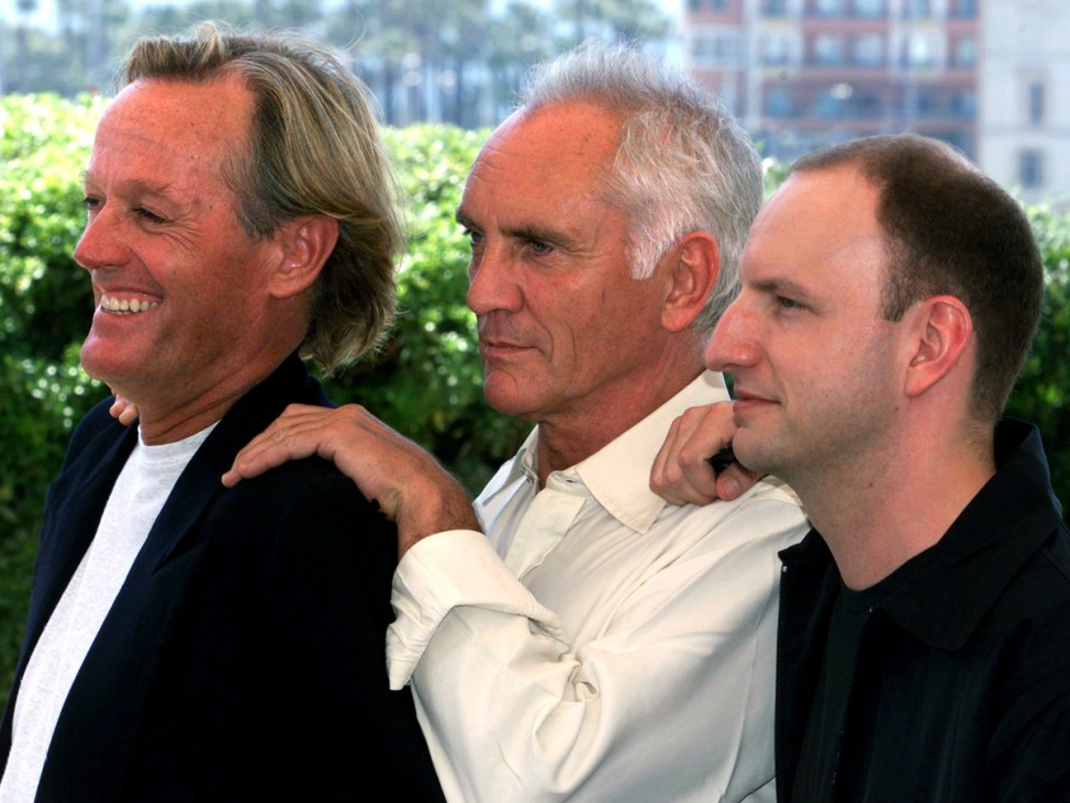 PETER FONDA WITH TERENCE STAMP AND STEVEN SODERBERGH AT CANNES
