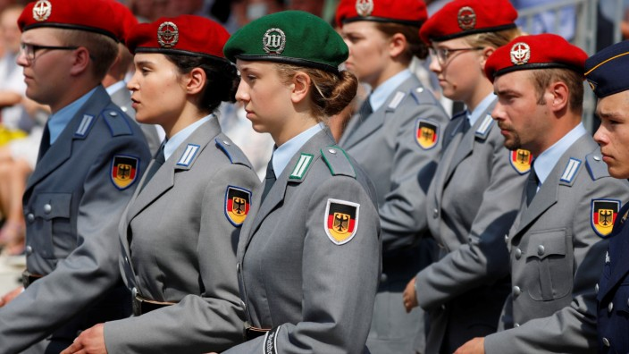 Soldiers arrive for the ceremonial swearing-in of German armed forces Bundeswehr soldiers in Berlin