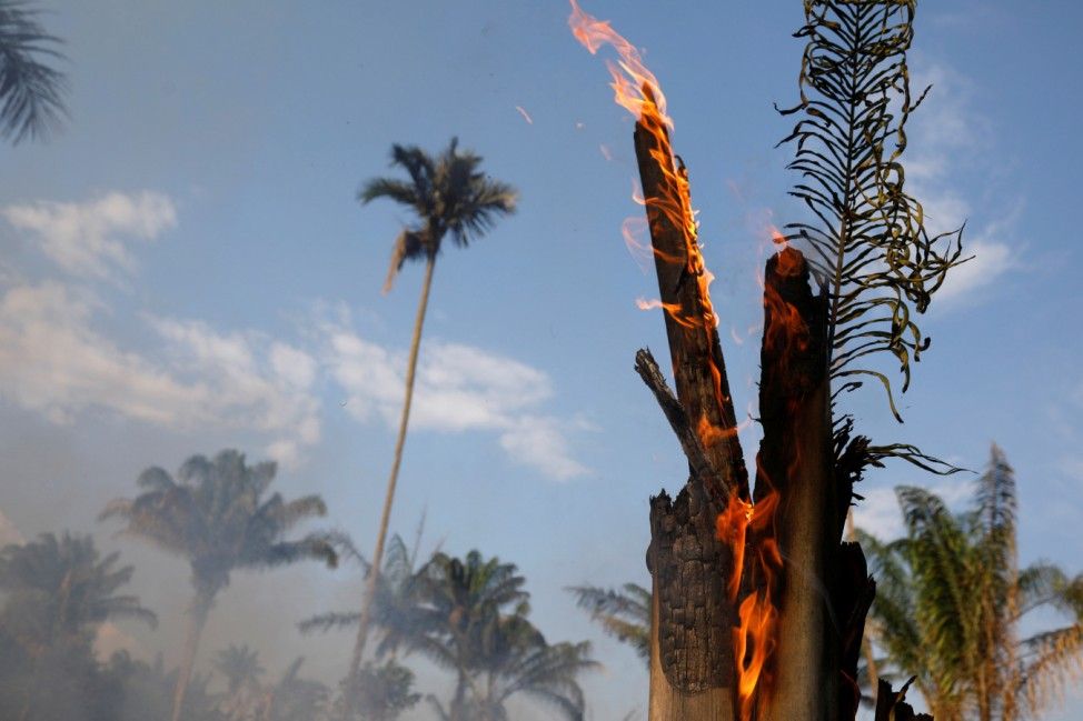 An tract of Amazon jungle burning as it is being cleared by loggers and farmers in Iranduba