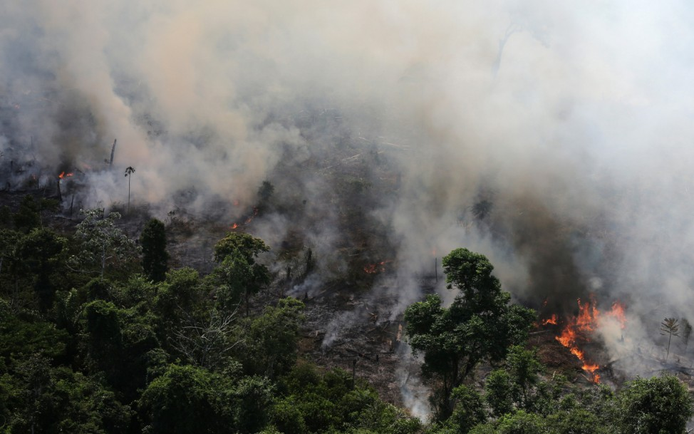 An aerial view of a tract of Amazon jungle burning as it is being cleared by loggers and farmers near the city of Novo Progresso