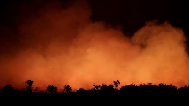 FILE PHOTO: Smoke billows during a fire in an area of the Amazon rainforest near Humaita, Amazonas