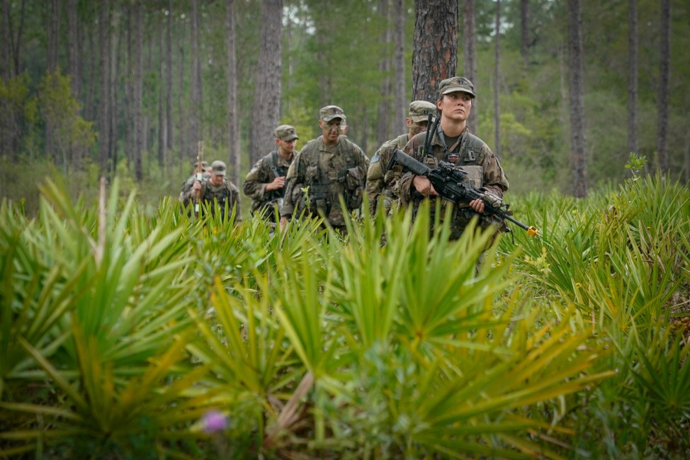 Senior leaders assigned to the U.S. Army's 3rd Brigade, 101st Airborne Division (Air Assault), participate in a training during a tactical leader's exercise at Eglin Air Force Base