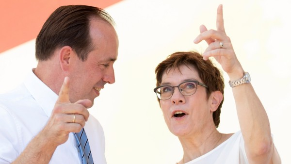 Annegret Kramp-Karrenbauer, leader ofGermany's Christian Democratic Union (CDU) and Ingo Senftleben, CDU top candidate, attend an election campaign ahead of the upcoming Brandenburg state election in Potsdam