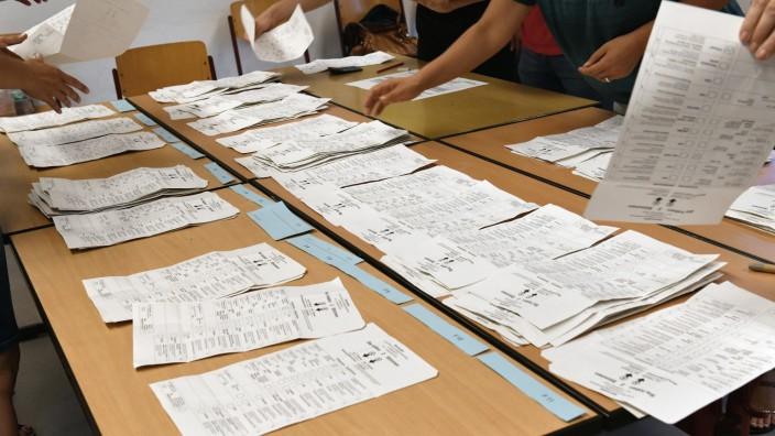 Landtagswahl in Brandenburg - Stimmauszählung