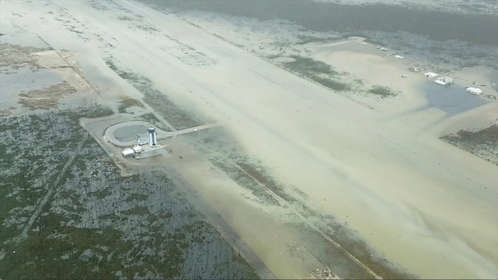 An aerial view of the Marsh Harbour Airport after hurricane Dorian hit the Abaco Islands in the Bahamas