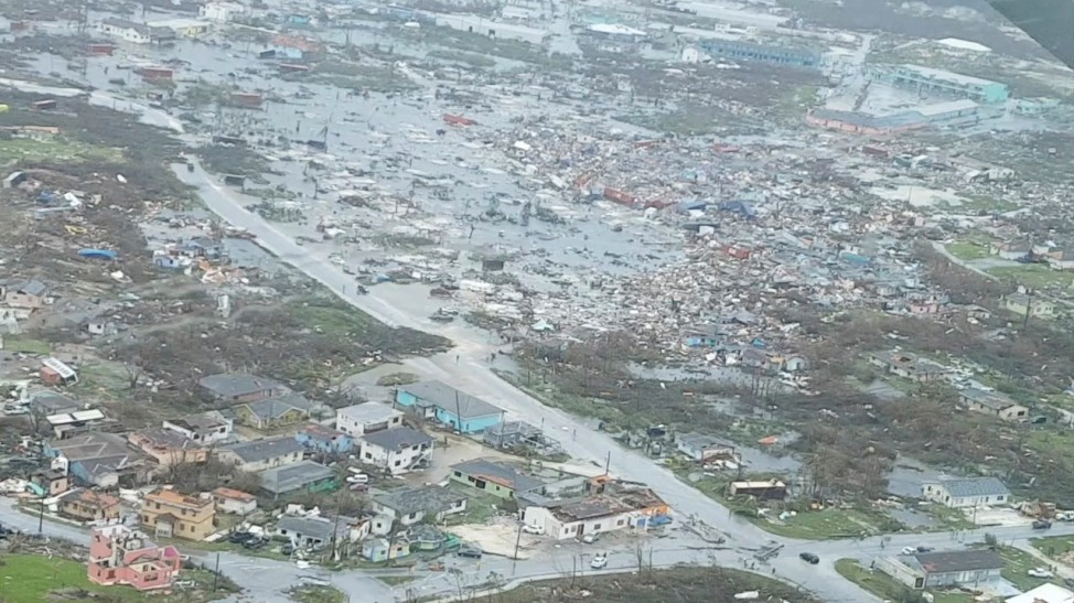 An aerial view of devastation after hurricane Dorian hit the Abaco Islands in the Bahamas