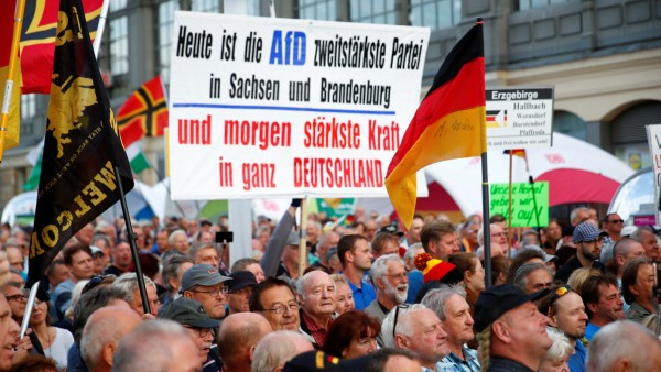 Supporters of the anti-Islam movement PEGIDA attend a demonstration in Dresden