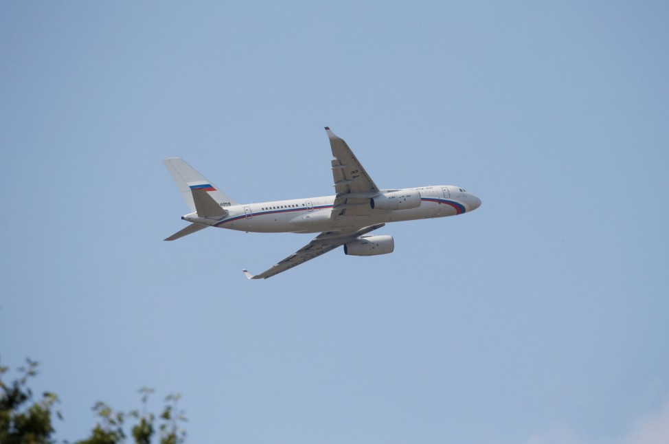 A Russian plane takes off at Borispil International Airport amid expectations of Russia-Ukraine prisoner swap, outside Kiev