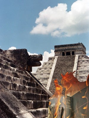 Zerstörung der Schriftstücke der Maya