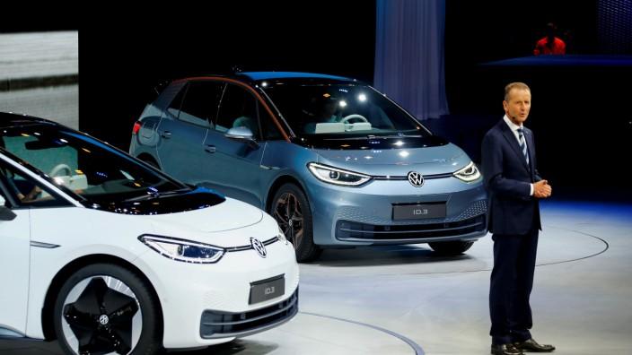 Presentation of Volkswagen's electric ID.3 pre-production prototype car on the eve of the International Frankfurt Motor Show IAA in Frankfurt