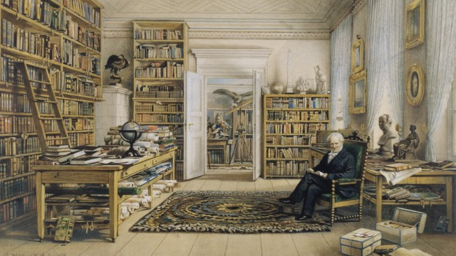 Alexander von Humboldt (1769-1859) in his library, circa 1855
