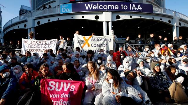 Climate-change protest during Frankfurt Motorshow (IAA) in Frankfurt