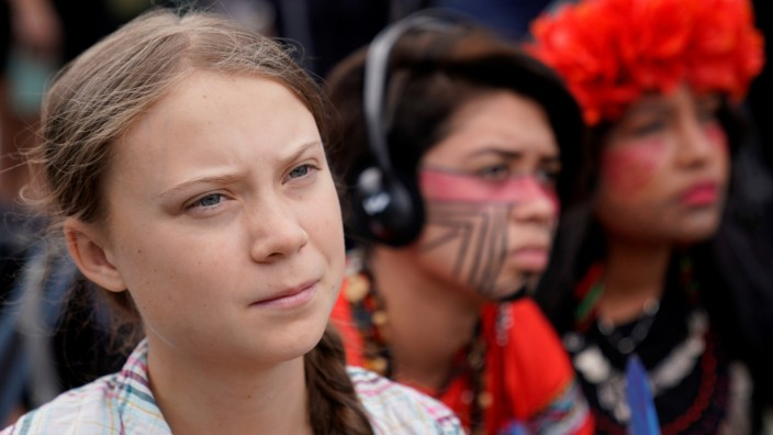 SIxteen year-old Swedish climate change activist Greta Thunberg at the Supreme Court in Washington