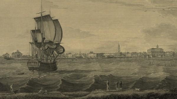 Historische Ansicht von Charleston Ende des 18. Jahrhhunderts