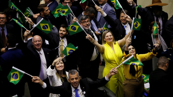FILE PHOTO: Members of congress and supporters of the pension reform bill react during a session to vote the pension reform bill at plenary of the Chamber of Deputies in Brasilia