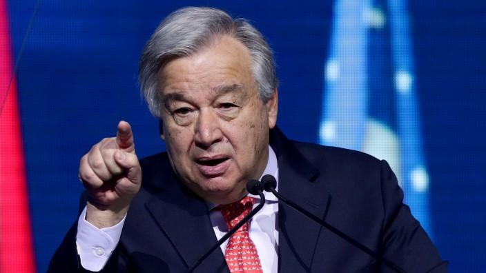 FILE PHOTO: U.N. Secretary-General Antonio Guterres speaks at the R20 Austrian World Summit
