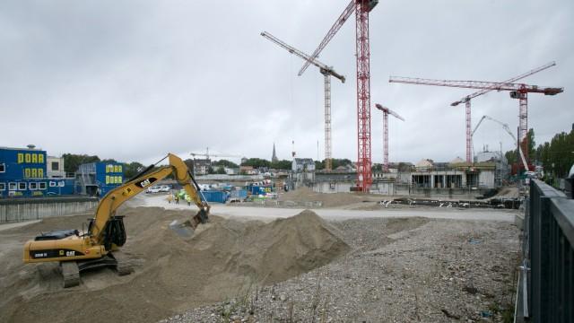 Baustelle Paulanergelände, Regerstraße, an ihrer Westseite