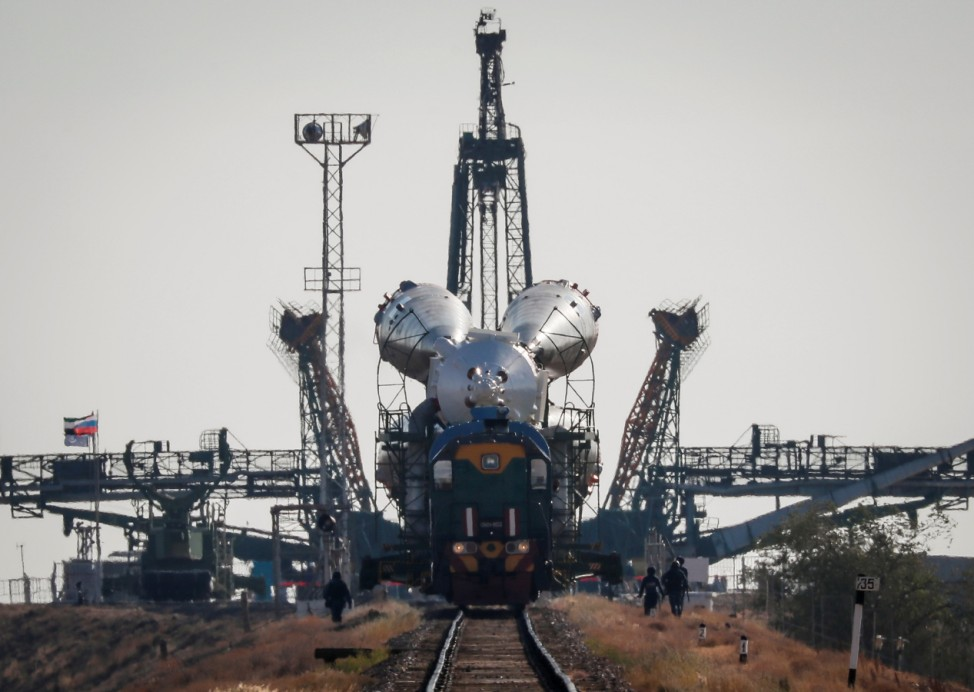 The Soyuz MS-15 spacecraft for the new International Space Station (ISS) crew is transported from an assembling hangar to the launchpad ahead of its upcoming launch, at the Baikonur Cosmodrome