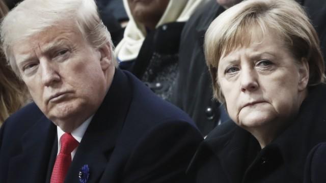 Donald Trump, Angela Merkel und Emanuel Macron auf dem G7-Gipfel 2018