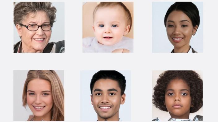 Stockfoto-Porträts: Menschen wie du und ich, könnte man meinen. In Wahrheit haben diese Gesichter weder Körper noch Namen, sie existieren nur als softwaregenerierte jpg-Files.