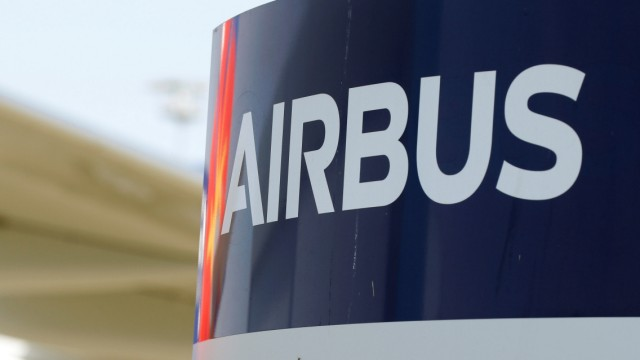 Logo of Airbus is pictured at the aircraft builder's headquarters of Airbus in Colomiers near Toulouse