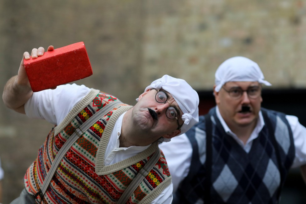 Monty Python fans dressed as the Gumbys gather in an attempt to set the world record for the largest gathering of people dressed as Gumbys as a part of the 50th anniversary of Monty Python's Flying Circus at the Roundhouse in London