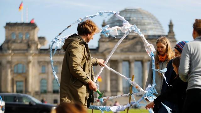 Extinction Rebellion makeshift camp in Berlin