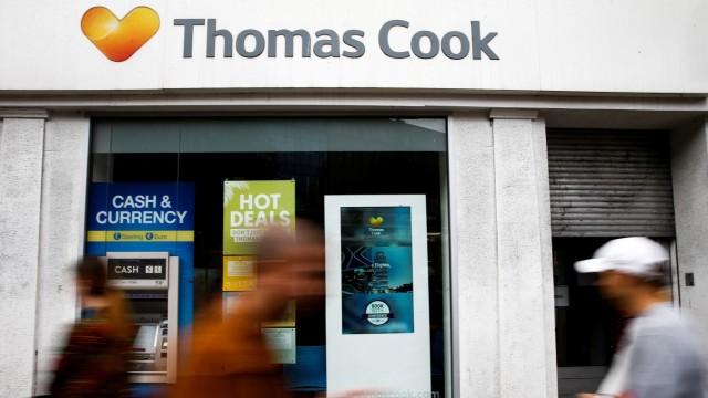 Pleite Reisebüro des insolventen Veranstalters Thomas Cook in London