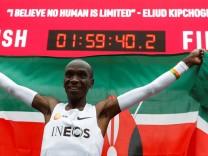 Eliud Kipchoge, the marathon world record holder from Kenya, attempts to run a marathon in under two hours in Vienna
