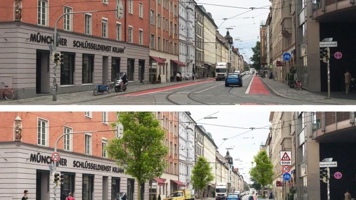 Ludwigsvorstadt/Isarvorstadt: Vorher (oben) und nachher: Die Geschäftsleute der Fraunhoferstraße wünschen sich Platz für Lieferanten - und zwar dringend. Simulation: PW. QUADRAT Architekten
