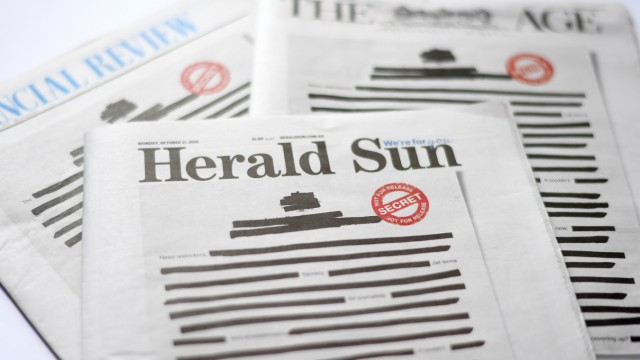 Australian Newspapers Black Out Front Pages In Call For Press Freedom