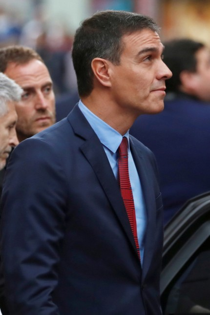 Spain's acting Prime Minister Pedro Sanchez visits the National Police headquarters in Barcelona