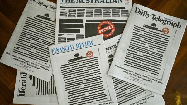 Front pages of major Australian newspapers show a 'Your right to know' campaign, in Canberra