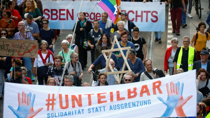 Demonstration themed with the slogan '#unteilbar' (indivisible) in Berlin